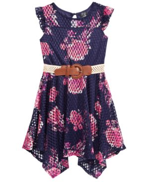 Pink & Violet Floral-Print Mesh Dress, Big Girls 5658874