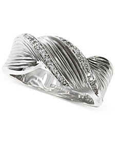 EFFY® Diamond Twist Ring (1/8 ct. t.w.) in Sterling Silver