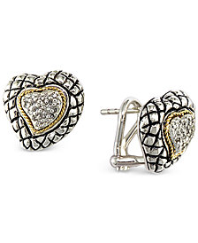 EFFY® Diamond Heart Stud Earrings (1/6 ct. t.w.) in Sterling Silver & 18k Gold