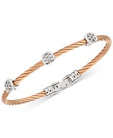 Women's Debutante White Topaz Cable Bangle Bracelet (9/10 ct. t.w.) in Stainless Steel & Rose Gold-Tone