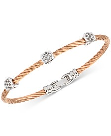 Charriol Women's Debutante White Topaz Cable Bangle Bracelet (9/10 ct. t.w.) in Stainless Steel & Rose Gold-Tone