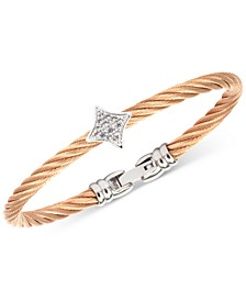 Women's Debutante White Topaz Two-Tone Bangle Bracelet (5/8 ct. t.w.) in Stainless Steel & Rose Gold-Tone PVD