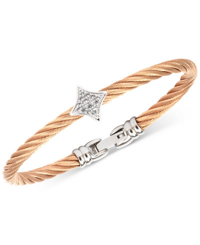 Charriol White Topaz Two-Tone Bangle Bracelet (5/8 ct. t.w.) in Stainless Steel & Rose Gold-Tone PVD Stainless Steel