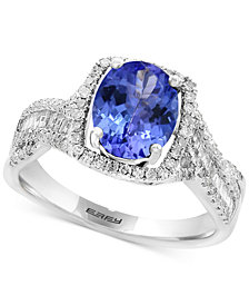 Tanzanite Royalé by EFFY® Tanzanite (1-3/4 ct. t.w.) & Diamond (3/8 ct. t.w.) Ring in 14k White Gold