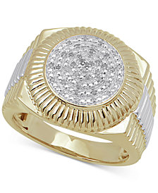 Men's Diamond Two-Tone Circle Cluster Style Ring (1/10 ct. t.w.) in Sterling Silver & 10k Gold-Plate