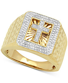 Men's Diamond Cross Ring (1/10 ct. t.w.) in 18k Gold-Plated Sterling Silver