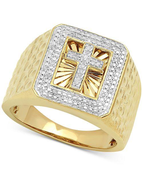 Macy's Men's Diamond Cross Ring (1/10 ct. t.w.) in 18k Gold-Plated Sterling Silver