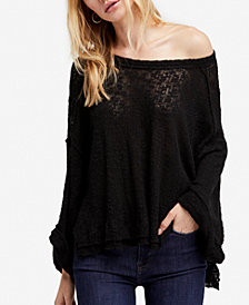 Free People Island Girl Cotton Hacci Off-The-Shoulder Top