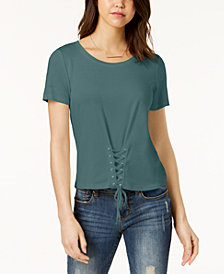 Hippie Rose Juniors' Lace-Up T-Shirt