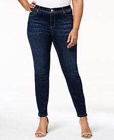 I.N.C. Plus Size Tummy-Control Skinny Jeans, Created for Macy's