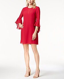 Vince Camuto Bell-Sleeve Chiffon Dress
