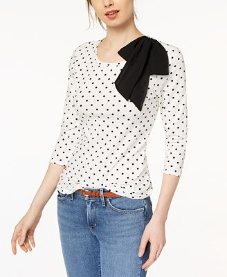 Maison Jules Dot-Print Bow-Detail Top, Created for Macy's