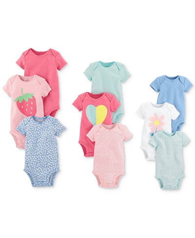 Carter's 9-Pk. Grow With Me Cotton Bodysuits Set, Baby Girls