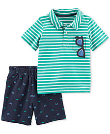 Carter's 2-Pc. Striped Cotton Polo & Printed Shorts Set, Baby Boys