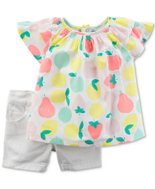 Carter's 2-Pc. Fruit-Print Cotton Tunic & Denim Shorts Set, Baby Girls