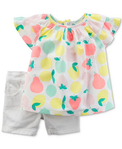 Carter's 2-Pc. Fruit-Print Cotton Tunic & Denim Shorts Set, Baby Girls