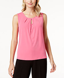 Kasper Pleated Keyhole Top