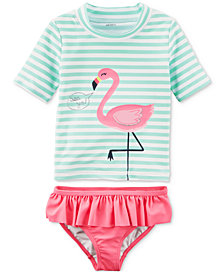 Carter's 2-Pc. Flamingo-Print Rash Guard, Baby Girls