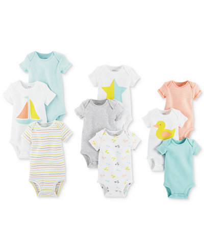 Carter's 9-Pk. Grow With Me Cotton Bodysuits Set, Baby Boys & Girls