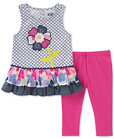 Kids Headquarters 2-Pc. Flower Tunic & Leggings Set, Baby Girls