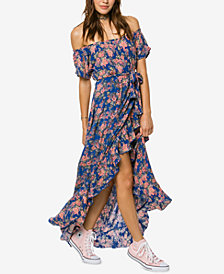 O'Neill Juniors' Constance Printed Off-The-Shoulder Wrap-Front Maxi Dress