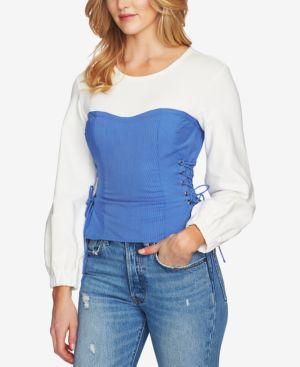 COLORBLOCKED LACE-UP TOP