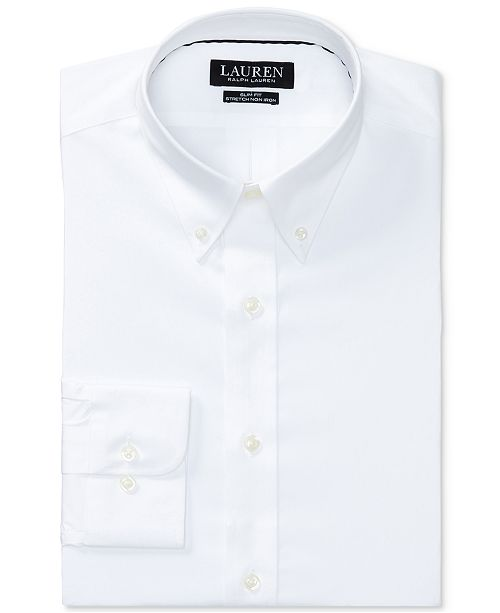 4e440580 Ralph Lauren Men's Slim-Fit Non-Iron Stretch Poplin Dress Shirt ...
