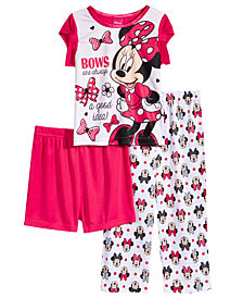 Disney's® Minnie Mouse 3-Pc. Bows Pajama Set, Toddler Girls