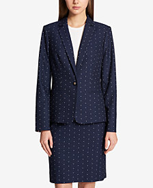 Tommy Hilfiger Printed One-Button Blazer