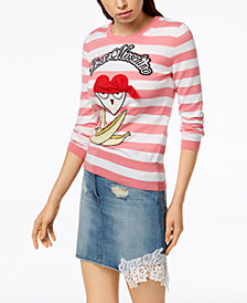 Love Moschino Striped Cotton Pirate-Appliqué Sweater