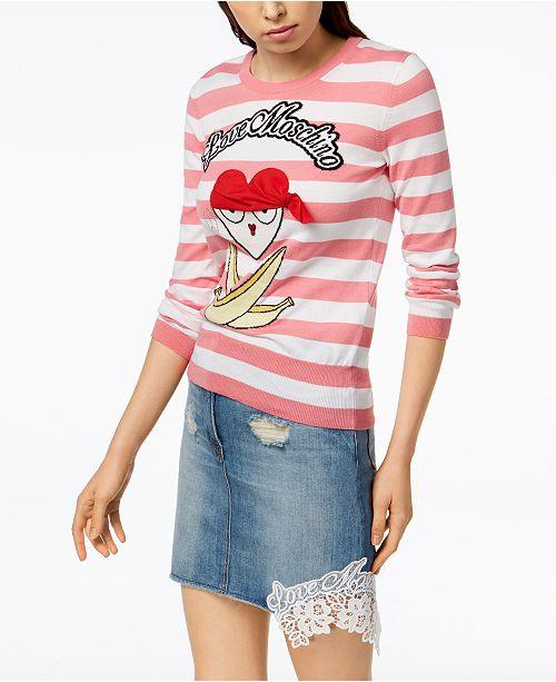 Striped Pirate Moschino Sweater Multi Appliqué Cotton Pink Love w8Axax