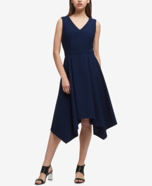 Dkny High-Low Fit & Flare Dress, Created For Macy'S In Midnight Navy