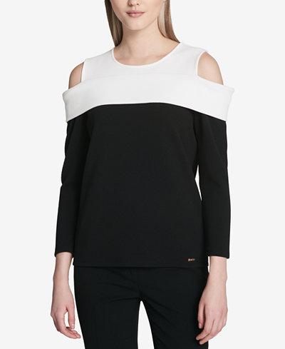 Calvin Klein Colorblocked Cold-Shoulder Top