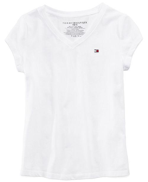 Tommy Hilfiger Big Girls Cotton V-Neck T-Shirt