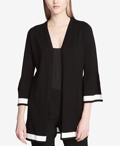 Calvin Klein Bell-Sleeve Border-Stripe Cardigan