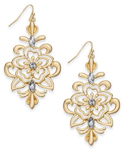 Thalia Sodi Gold-Tone Crystal Flower Filigree Chandelier Earrings, Created for Macy's