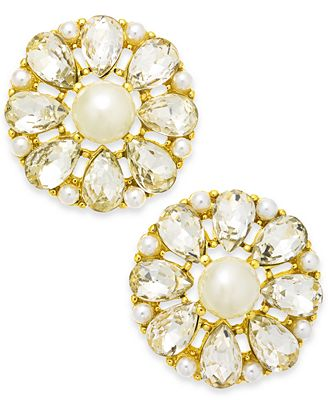 Charter Club Gold-Tone Imitation Pearl & Crystal Flower Stud Earrings, Created for Macy's