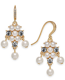 Charter Club Gold-Tone Imitation Pearl & Crystal Drop Earrings, Created for Macy's