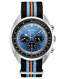 Men's Solar Chronograph Recraft Series Black, Orange & Blue Nylon Strap Watch 43.5mm