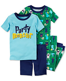 Carter's 4-Pc. Party Monster Cotton Pajama Set, Little Boys & Big Boys