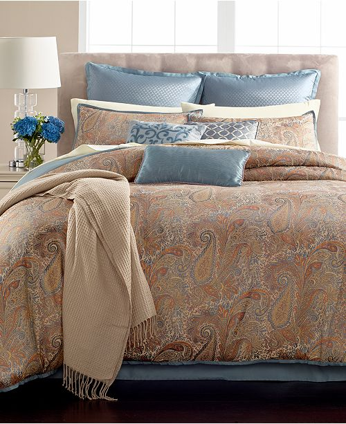 Martha Stewart Collection CLOSEOUT! Paisley Plume 14-Pc. Queen Comforter Set, Created for Macy's