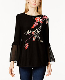 Alfani Embroidered Tunic Sweater, Created For Macy's