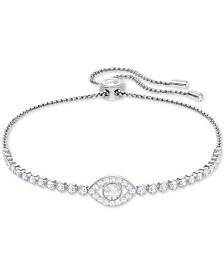 Swarovski Silver-Tone Crystal Eye Slider Bracelet