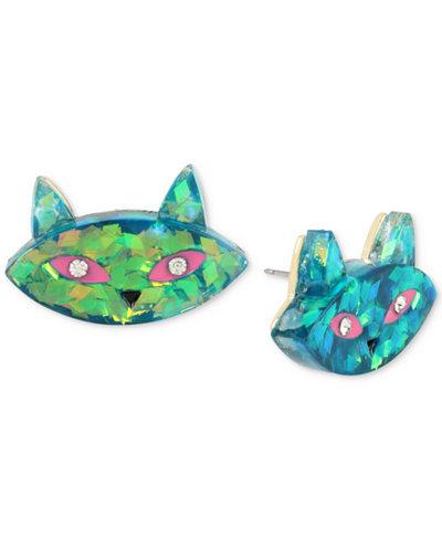 Betsey Johnson Gold-Tone Multi-Stone Cat Stud Earrings