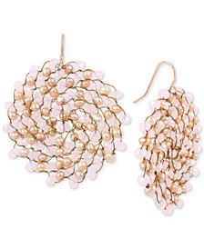 Kenneth Cole New York Rose Gold-Tone Pink Bead Woven Drop Earrings