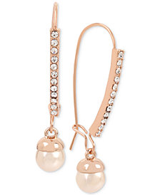Kenneth Cole New York Rose Gold-Tone Pavé & Pink Imitation Pearl Drop Earrings