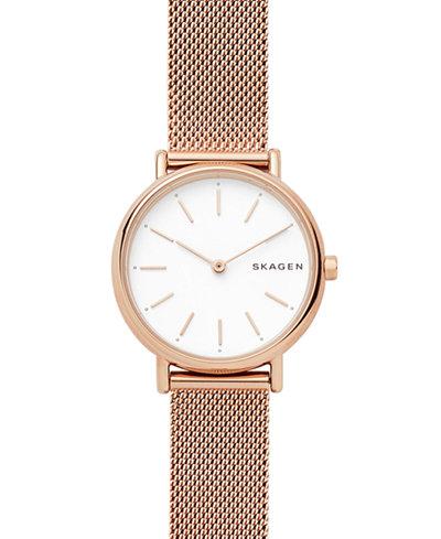 Skagen Women's Signature Slim Rose Gold-Tone Stainless Steel Bracelet Watch 30mm