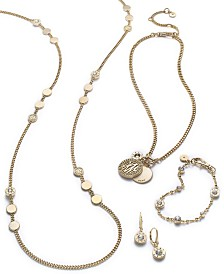 DKNY Gold-Tone Crystal Logo Jewelry Separates