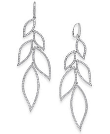 Danori Cubic Zirconia Leaf Drop Earrings, Created for Macy's