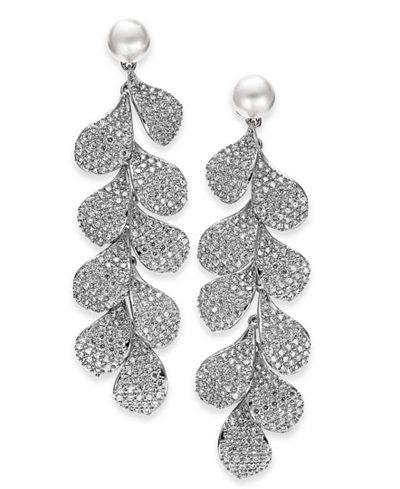 Danori Cubic Zirconia Petal & Imitation Pearl Linear Drop Earrings, Created for Macy's
